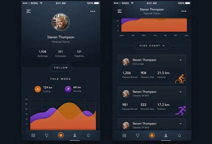 fitness tracker app profile