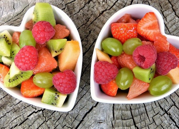 fruit salad in a heart shaped bowls