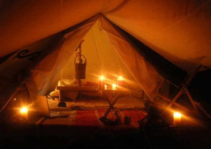 romantic tent with candles