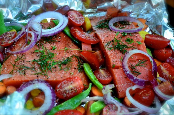 Meat with Vegetables in Foil