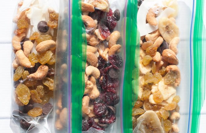 dried fruit and nuts in ziploc