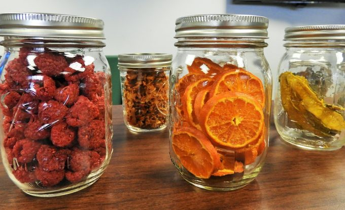 dried fruit in mason jars