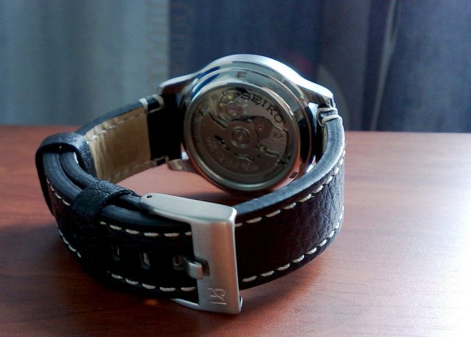 leather band military watch