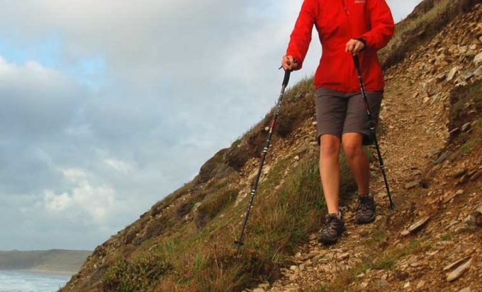 going downhill with trekking poles