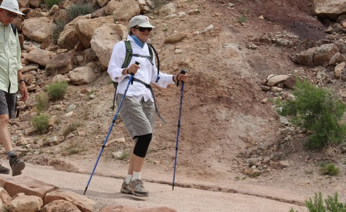 woman walking with trekking poles