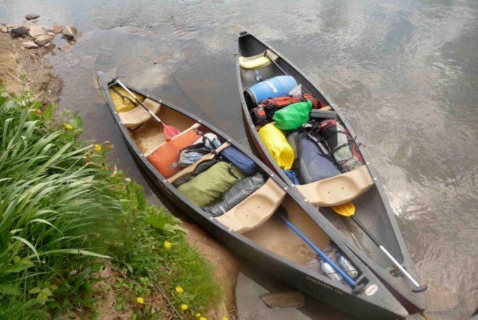 canoes ready for camping